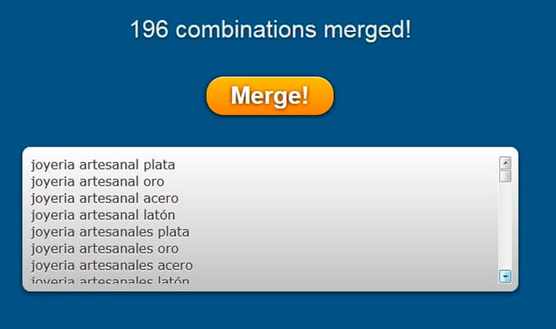 merge words combinaciones keywords