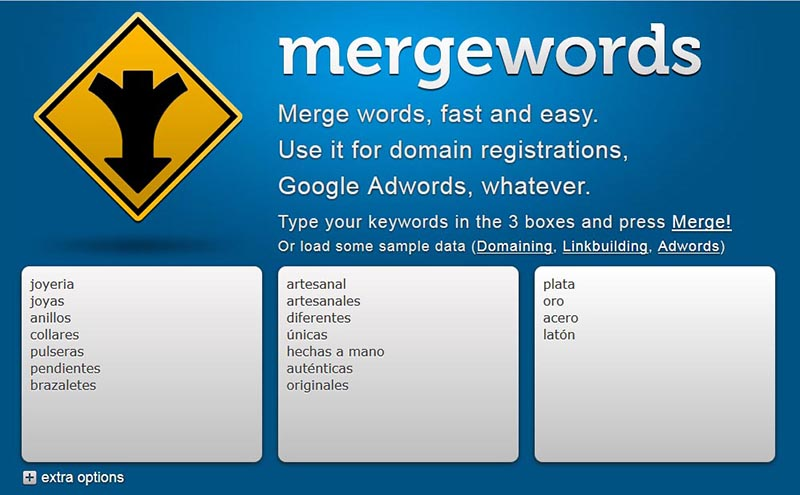merge words palabras claves