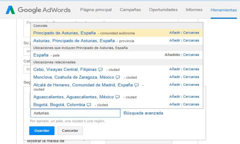 adwords palabras claves